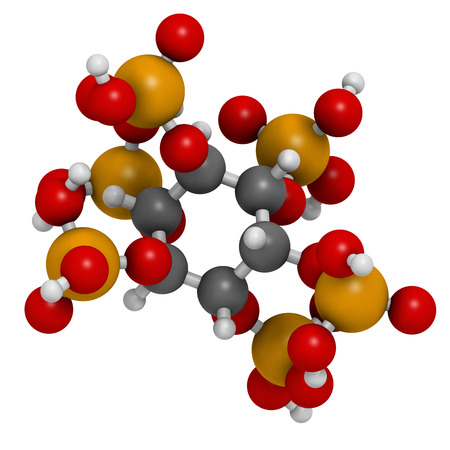 Phytic acid (hexakisphosphate, IP6, phytate) molecule. Present in seeds and grains of many plants, acting as storage form of phosphorus. Atoms are represented as spheres with conventional color coding: hydrogen (white), carbon (grey), oxygen (red), phosph