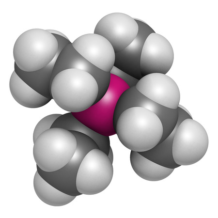 octane: Tetraethyllead gasoline octane booster molecule. Neurotoxic organolead compound. Atoms are represented as spheres with conventional color coding: hydrogen (white), carbon (grey), lead (pink).