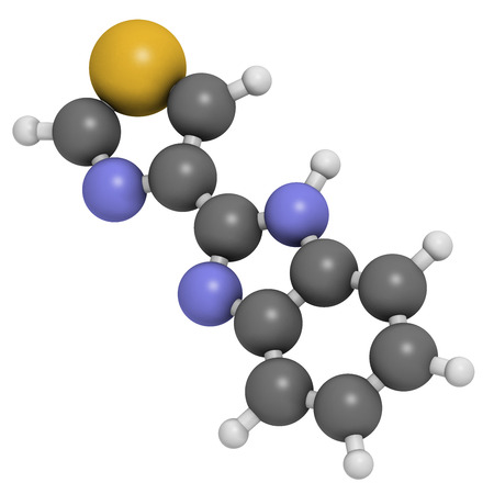 preservative: thiabendazole (tiabendazole) fungicidal and anti-parasite molecule. Used as food preservative and antihelmintic drug. Atoms are represented as spheres with conventional color coding: hydrogen (white), carbon (grey), nitrogen (blue), sulfur (yellow). Stock Photo