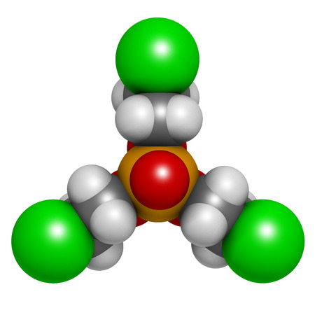 suspected: TCEP [tris(2-chloroethyl) phosphate] molecule. Used as flame retardant and plasticizer in production of polymers. Suspected to have toxic effect on reproduction. Atoms are represented as spheres with conventional color coding: hydrogen (white), carbon (gr