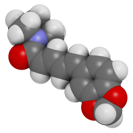 pungency: Piperine black pepper molecule. Responsible for the pungency of black pepper and long pepper. Atoms are represented as spheres with conventional color coding: hydrogen (white), carbon (grey), oxygen (red), nitrogen (blue). Stock Photo