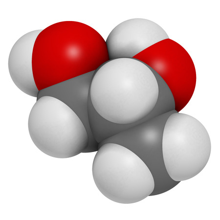acidosis: Propylene glycol (1,2-propanediol) molecule. Used as solvent in pharmaceutical drugs, as food additive, in de-icing solutions, etc. Atoms are represented as spheres with conventional color coding: hydrogen (white), carbon (grey), oxygen (red).