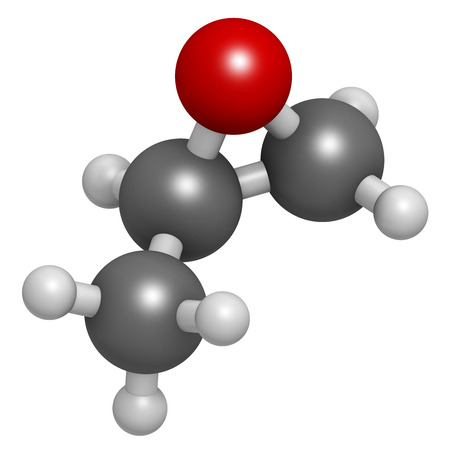 propylene: Propylene oxide molecule. Used as fumigant in pasteurization of almonds and pistachio nuts. Atoms are represented as spheres with conventional color coding: hydrogen (white), carbon (grey), oxygen (red).