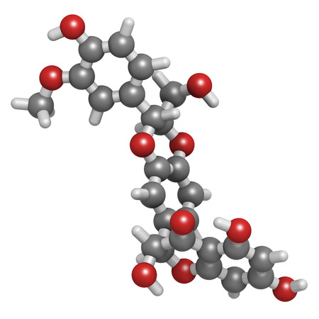 constituent: Silibinin (silybin) milk thistle molecule. Major constituent of silymarin, has liver protecting properties. Atoms are represented as spheres with conventional color coding: hydrogen (white), carbon (grey), oxygen (red).