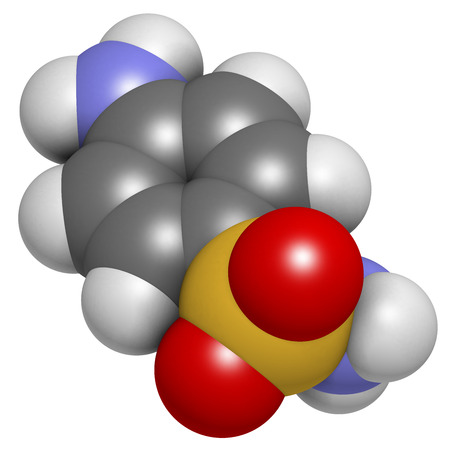 Sulfanilamide (sulphanilamide) sulfonamide antiobiotic molecule. One of the first antibiotics discovered. Atoms are represented as spheres with conventional color coding: hydrogen (white), carbon (grey), oxygen (red), sulfur (yellow), nitrogen (blue).