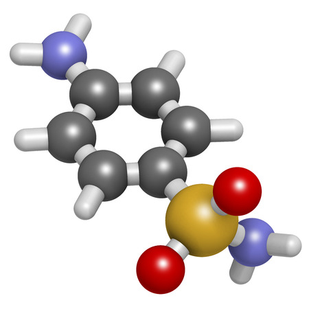 paba: Sulfanilamide (sulphanilamide) sulfonamide antiobiotic molecule. One of the first antibiotics discovered. Atoms are represented as spheres with conventional color coding: hydrogen (white), carbon (grey), oxygen (red), sulfur (yellow), nitrogen (blue).