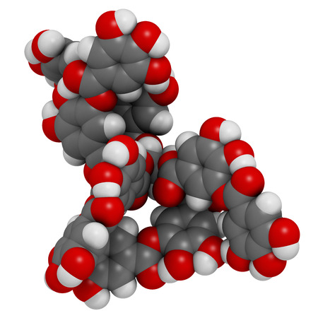 Tannic acid molecule (one isomer shown). Type of tannin. Atoms are represented as spheres with conventional color coding: hydrogen (white), carbon (grey), oxygen (red).