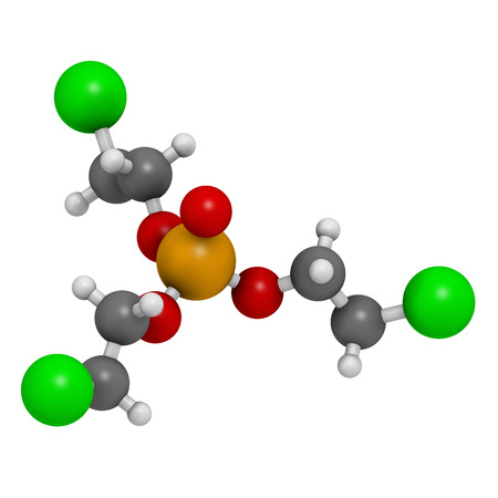 TCEP [tris(2-chloroethyl) phosphate] molecule. Used as flame retardant and plasticizer in production of polymers. Suspected to have toxic effect on reproduction. Atoms are represented as spheres with conventional color coding: hydrogen (white), carbon (gr