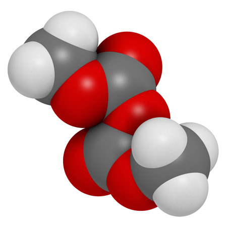 Dimethyl dicarbonate (DMDC) beverage preservative molecule. Additive added to wine, sport beverages, iced tea, etc.  Atoms are represented as spheres with conventional color coding: hydrogen (white), carbon (grey), oxygen (red). photo