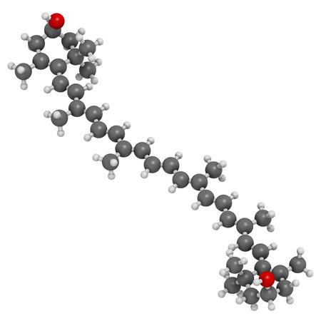 carotenoid: Zeaxantina mol�cula de pigmento amarillo. Responsable para el color de los pimientos, ma�z, azafr�n, etc tambi�n juega papel importante en el ojo humano (en la m�cula). Los �tomos se representan como esferas con codificaci�n convencional color: hidr�geno (blanco), el carb�n (gris), ox�geno Foto de archivo