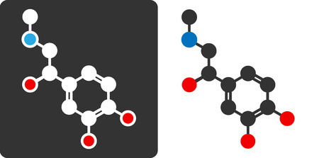 Adrenaline (epinephrine, adrenalin) molecule, flat icon style.