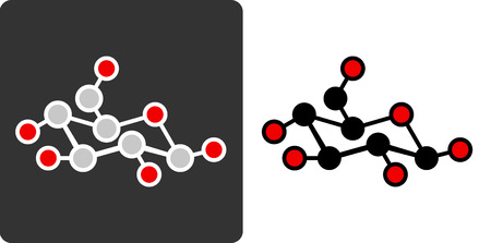 Sugar (glucose, beta-D-glucose) molecule, flat icon style.  Vector