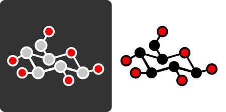 carb: Sugar (glucose, beta-D-glucose) molecule, flat icon style.  Illustration