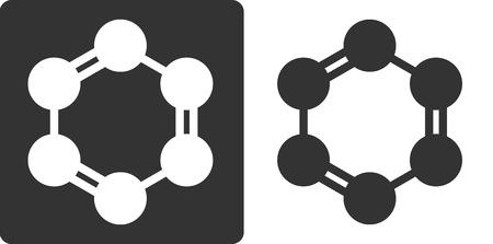 aromatique: Benz�ne (C6H6) mol�cule d'hydrocarbure aromatique, ic�ne de style plat. Les atomes de carbone repr�sent�s par des cercles.