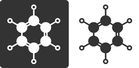 benzene: Benzene (C6H6) aromatic hydrocarbon molecule, flat icon style. Atoms shown as circles (carbon - large, hydrogen - small).