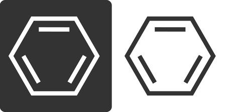 aromatic: Benzene (C6H6) aromatic hydrocarbon molecule, flat icon style. Skeletal formula.