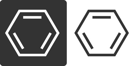 Benzene (C6H6) aromatic hydrocarbon molecule, flat icon style. Skeletal formula.