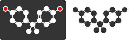 Bisphenol A (BPA) plastic pollutant molecule, flat icon style. Atoms shown as color-coded circles (oxygen - red, carbon - whitegrey, hydrogen - hidden).  Vector