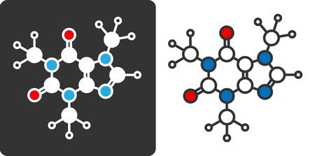 stimulant: Caffeine stimulant molecule, flat icon style. Stylized rendering.