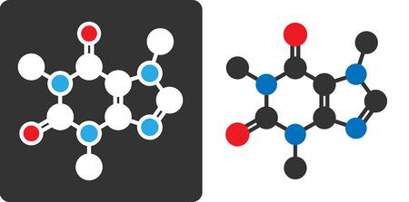 caffeine: Caffeine stimulant molecule, flat icon style. Stylized rendering.