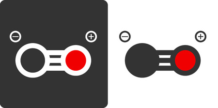 intoxication: Carbon monoxide molecule, flat icon style. Atoms shown as color-coded circles (oxygen - red, carbon - grey). Illustration