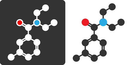 insect repellent: DEET (N,N-Diethyl-meta-toluamide) insect repellent molecule, flat icon style.