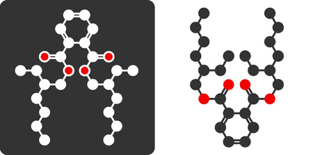 DEHP phthalate plasticizer molecule, flat icon style. Carbon and oxygen atoms shown as circles, hydrogen atoms omitted.  Vector