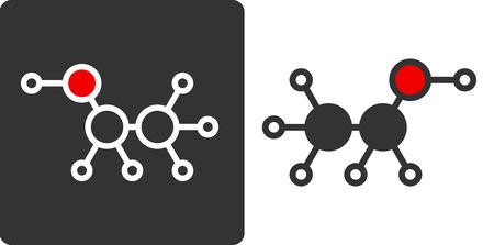ethanol: Ethanol (alcohol) molecule, flat icon style. Used in alcoholic beverages, as biofuel, solvent, disinfectant, etc.