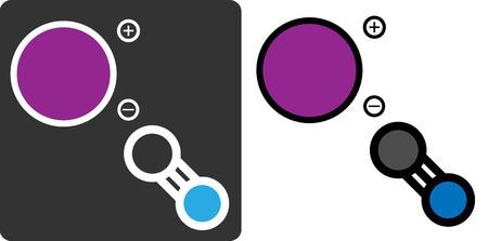 potassium: Potassium cyanide (KCN) poison, flat icon style. Atoms shown as color-coded circles (potassium - purple, carbon - grey, nitrogen - blue).