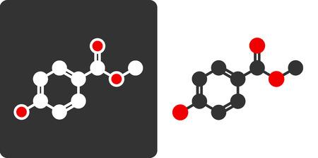 preservative: Paraben (methylparaben, E218) controversial preservative molecule, flat icon style.   Illustration