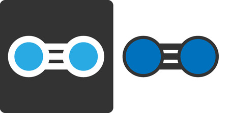 elemental: Elemental nitrogen (N2) molecule, flat icon style. Nitrogen gas is the main component of the Earths atmosphere. Atoms shown as color-coded circles (nitrogen - blue).