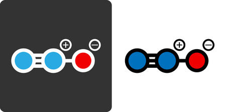 pharma: Nitrous oxide (N2O, nitrous, nitro, NOS, laughing gas) molecule, flat icon style. Medically used as anaesthetic and analgesic. Also used in motor sports and rocketry. Atoms shown as color-coded circles (oxygen - red, nitrogen - blue).