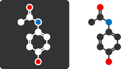 Paracetamol (acetaminophen) drug molecule, flat icon style.  Vector