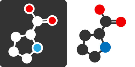 pharma: Proline amino acid molecule, flat icon style. Carbon, nitrogen and oxygen atoms shown as circles.  Illustration