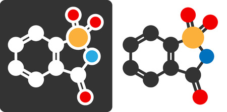 Saccharin artificial sweetener molecule, flat icon style.  Ilustração