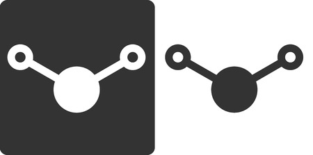 solvent: Water (H2O) molecule, flat icon style. Atoms shown as circles.