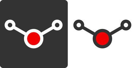 pharma: Water (H2O) molecule, flat icon style. Atoms shown as color-coded circles (oxygen - red, hydrogen - greywhite).