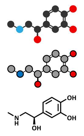 adrenalin: Adrenaline (adrenalin, epinephrine) neurotransmitter molecule.
