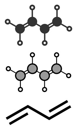 synthetic: Butadiene (1,3-butadiene) synthetic rubber building block molecule.