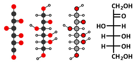 Fructose (D-fructose) fruit sugar molecule.  Vector