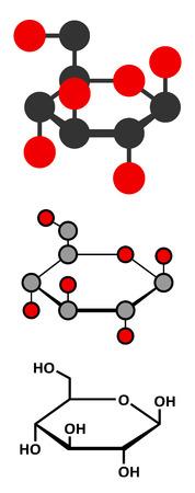 glucose: Glucose (D-glucose, dextrose) grape sugar molecule.