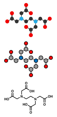 limescale: EDTA (ethylenediaminetetraacetic acid) complexing agent molecule. Illustration