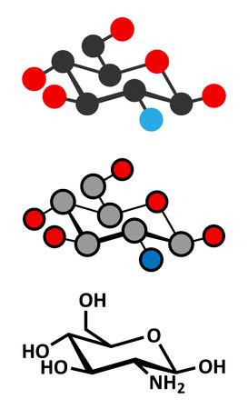 Glucosamine dietary supplement molecule.  Vector