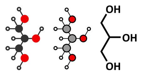 glycerin: Glycerol (glycerin) molecule.