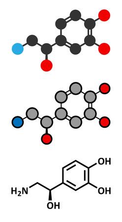 norepinephrine: Norepinephrine (noradrenaline, norepi) hormone and neurotransmitter molecule.  Illustration