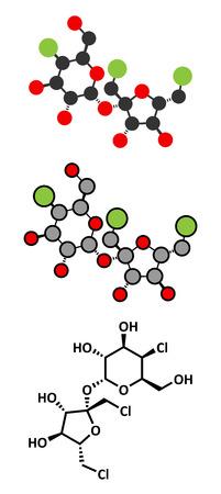 Sucralose artificial sweetener molecule.  Ilustrace