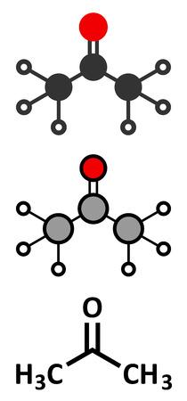 Acetone solvent molecule.