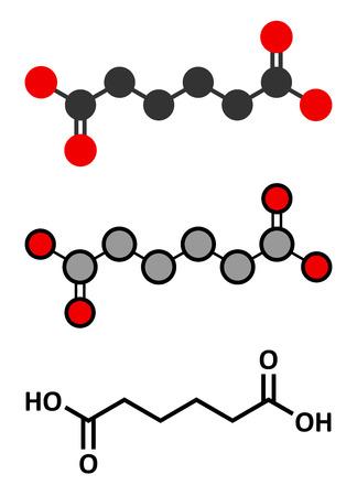 nylon: Adipic acid nylon building block molecule.  Illustration