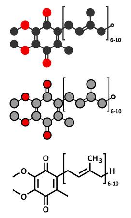 mitochondria: Coenzyme Q10 (ubiquinone, ubidecarenone, CoQ10) molecule, chemical structure.