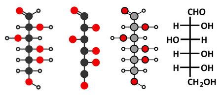 Glucose (D-glucose, dextrose) grape sugar molecule. Stylized 2D renderings and conventional skeletal formula. Vector